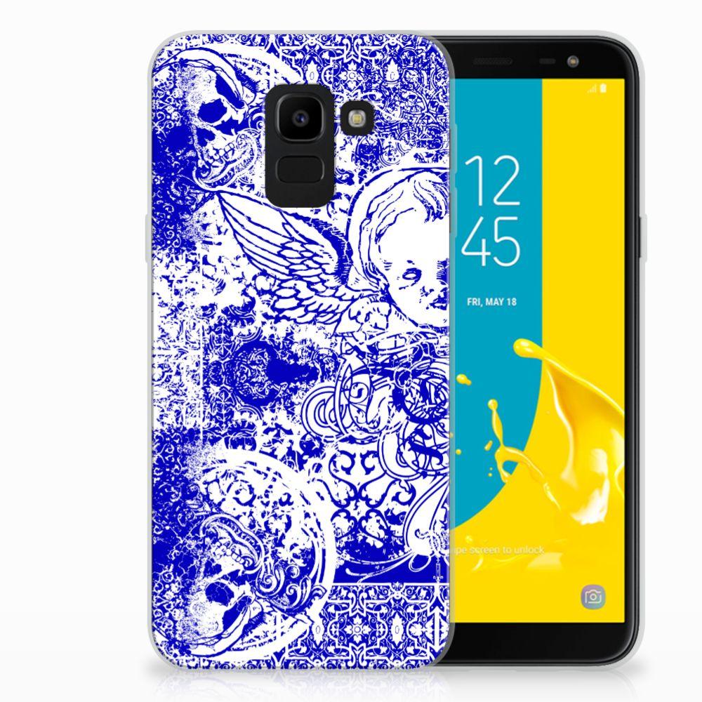 Samsung Galaxy J6 2018 Uniek TPU Hoesje Angel Skull Blue