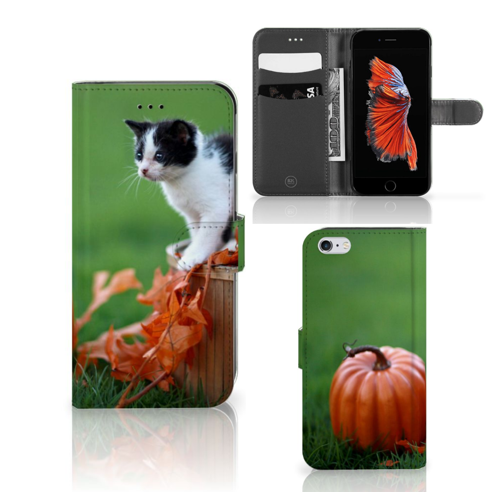 Apple iPhone 6 Plus | 6s Plus Telefoonhoesje met Pasjes Kitten