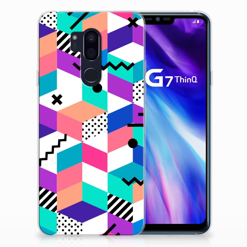 LG G7 Thinq TPU Hoesje Blokken Kleurrijk