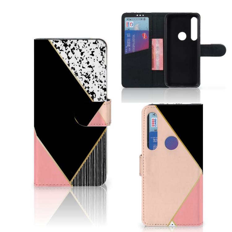 Motorola Moto G8 Plus Bookcase Zwart Roze Vormen