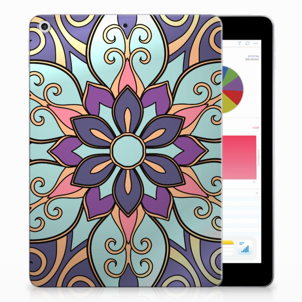 Apple iPad 9.7 2018 | 2017 Tablethoesje Design Purple Flower
