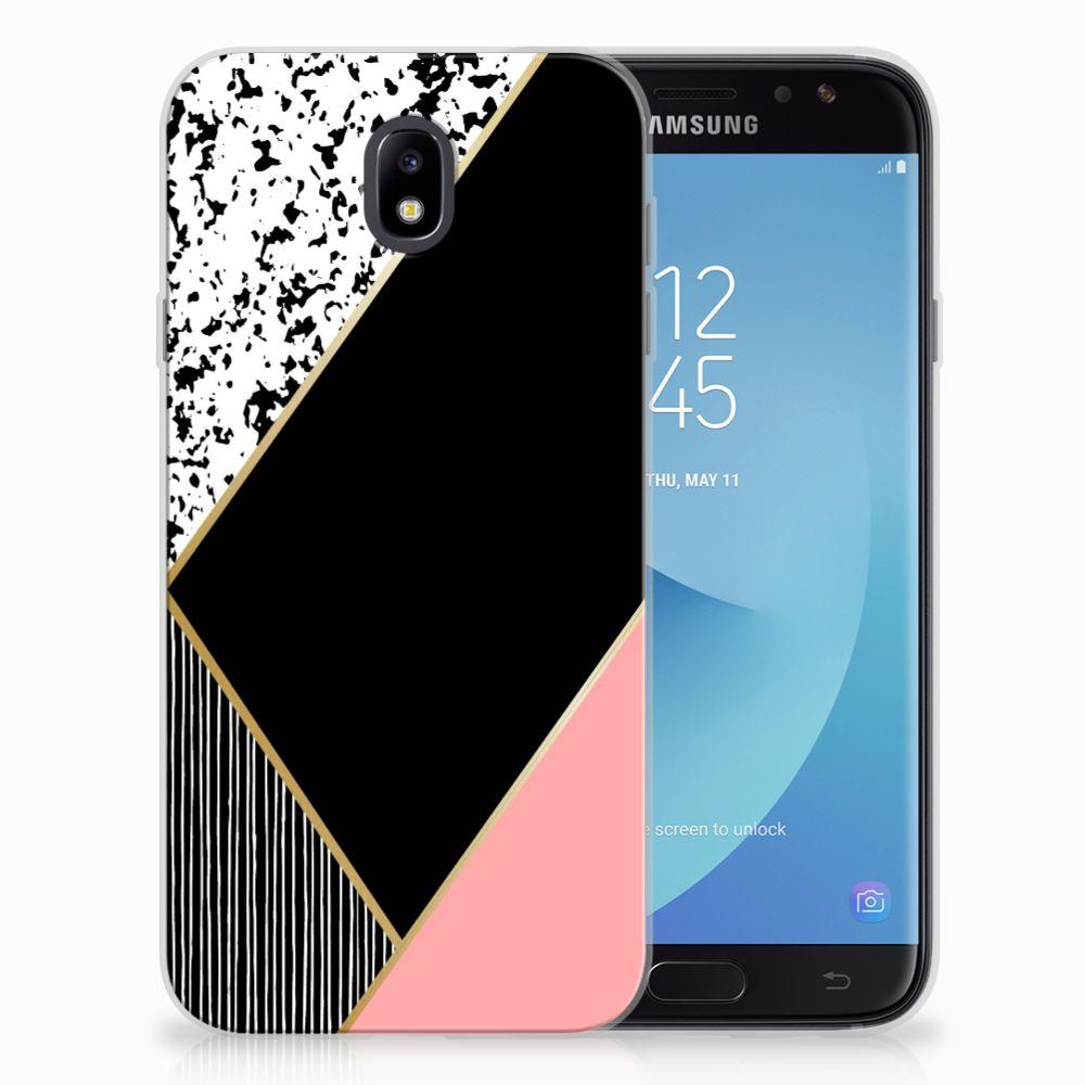 Samsung Galaxy J7 2017 | J7 Pro TPU Hoesje Zwart Roze Vormen