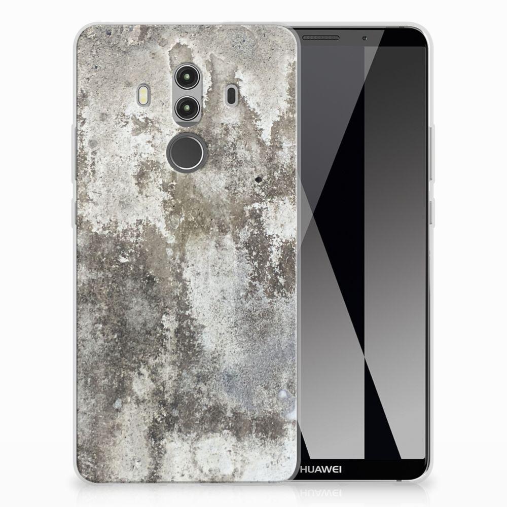 Huawei Mate 10 Pro TPU Siliconen Hoesje Beton Print