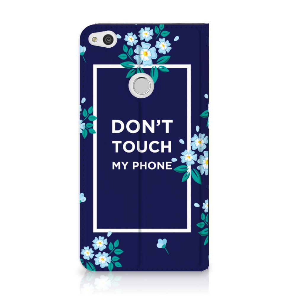 Huawei P8 Lite 2017 Standcase Hoesje Flowers Blue DTMP