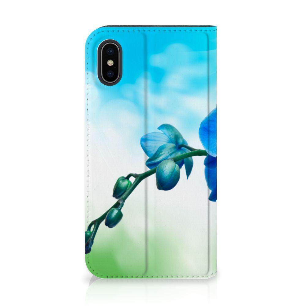 Apple iPhone X | Xs Standcase Hoesje Design Orchidee Blauw