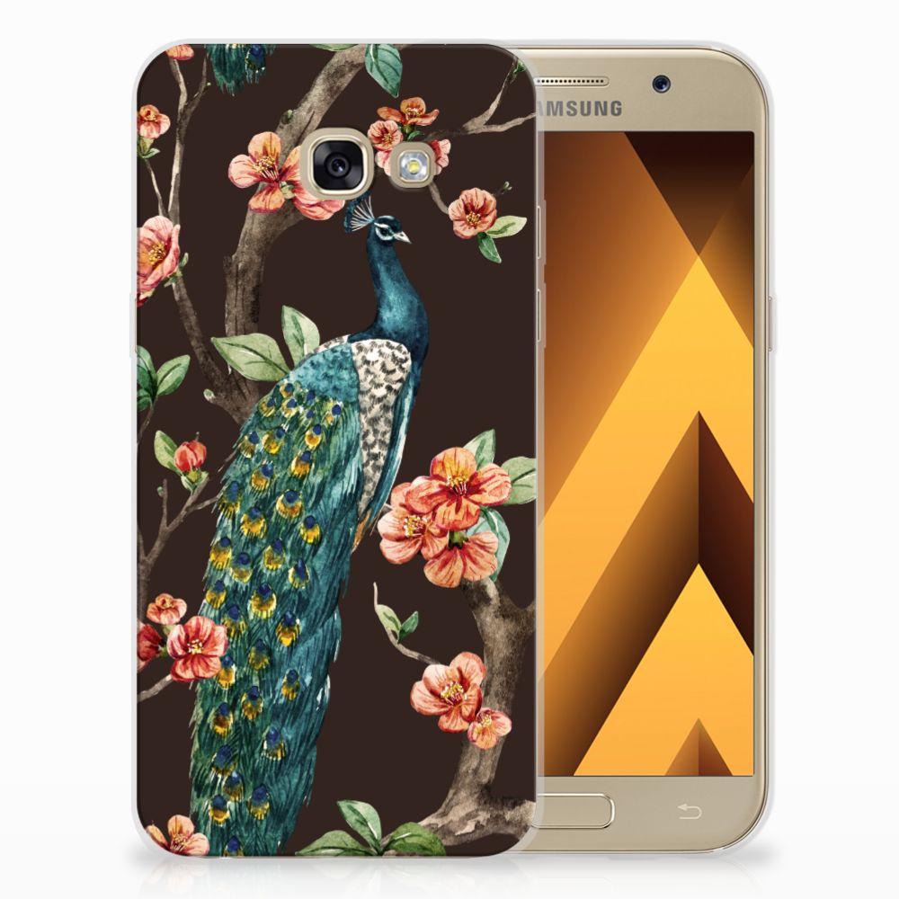 Samsung Galaxy A5 2017 TPU Hoesje Design Pauw met Bloemen