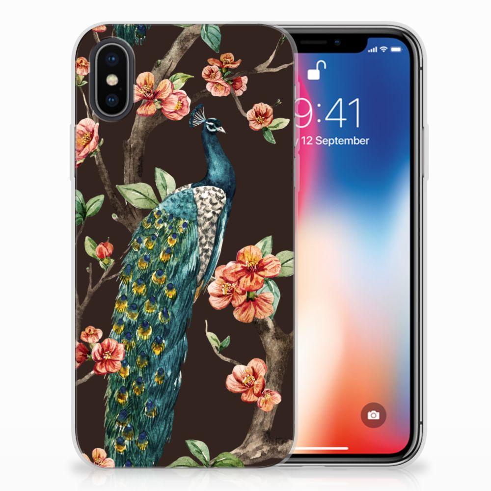 Apple iPhone X | Xs TPU Hoesje Pauw met Bloemen