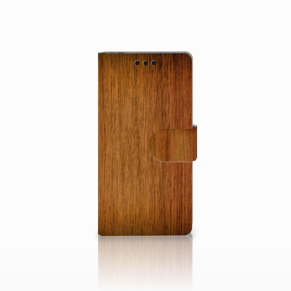 Sony Xperia M4 Aqua Uniek Boekhoesje Donker Hout