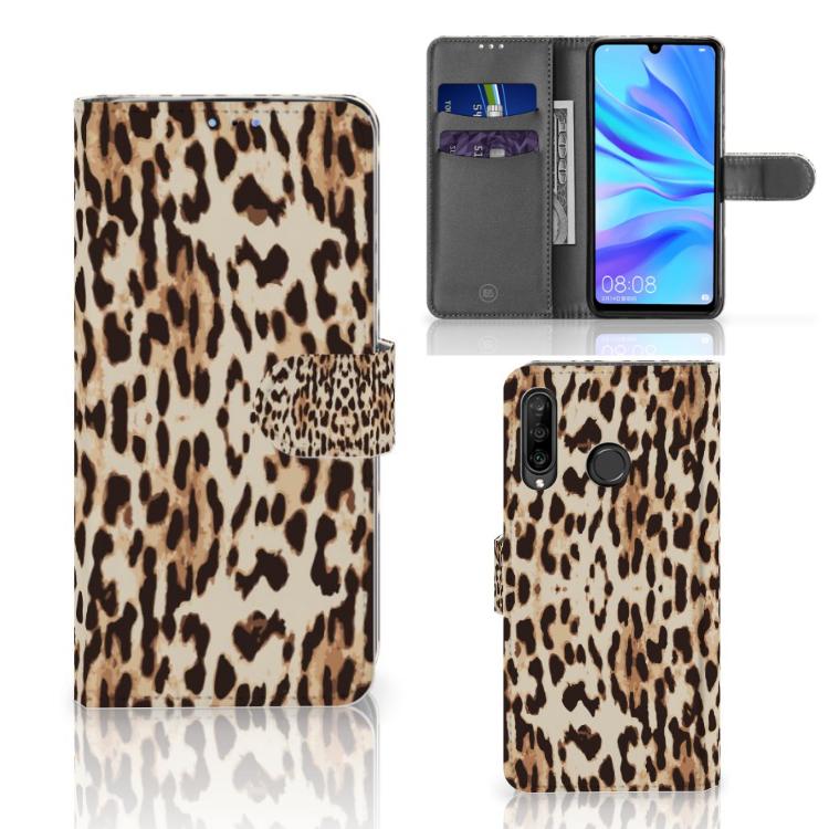Huawei P30 Lite (2020) Telefoonhoesje met Pasjes Leopard