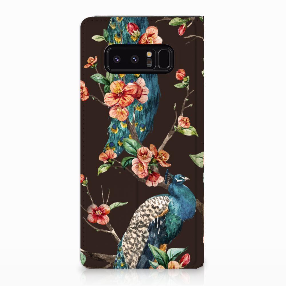 Samsung Galaxy Note 8 Standcase Hoesje Design Pauw met Bloemen