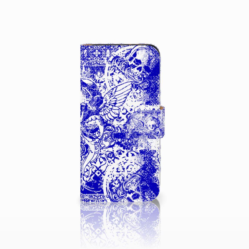 HTC One Mini 2 Uniek Boekhoesje Angel Skull Blue