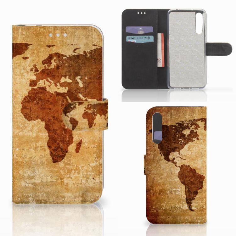 Huawei P20 Pro Flip Cover Wereldkaart