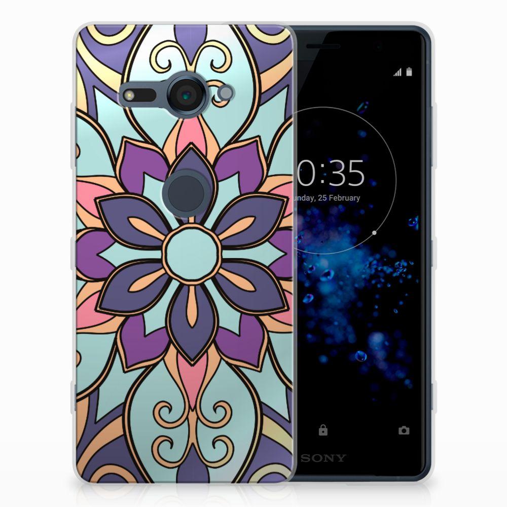Sony Xperia XZ2 Compact TPU Hoesje Design Purple Flower