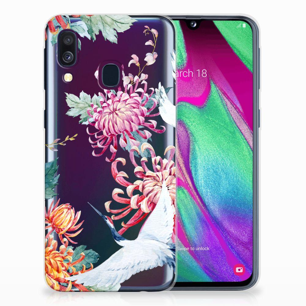 Samsung Galaxy A40 Uniek TPU Hoesje Bird Flowers