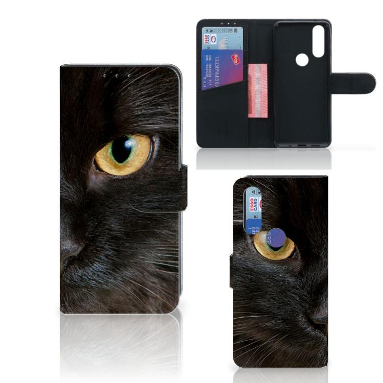 Motorola One Action Telefoonhoesje met Pasjes Zwarte Kat