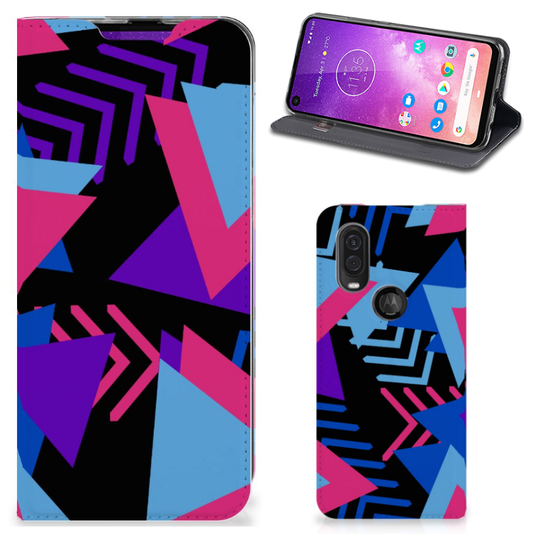 Motorola One Vision Stand Case Funky Triangle