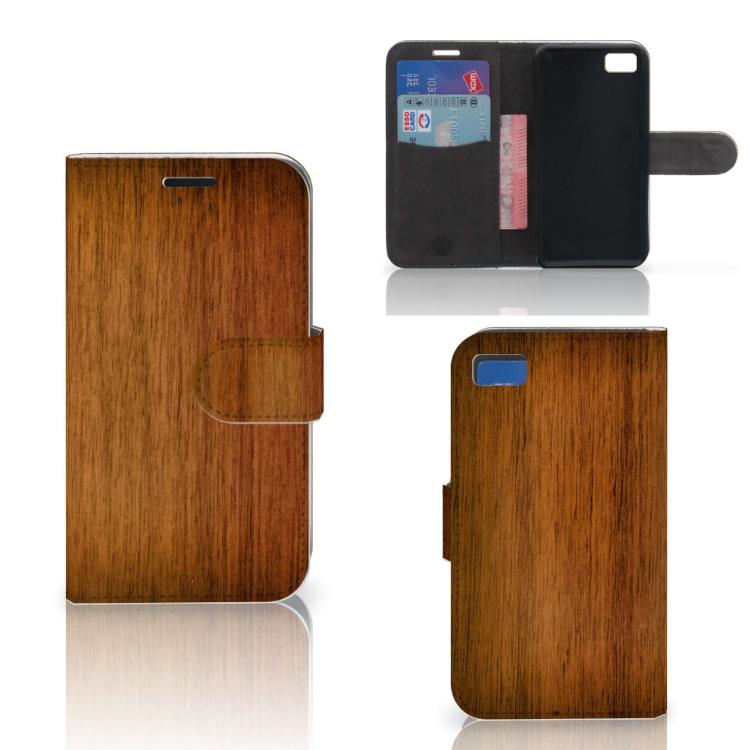 Blackberry Z10 Book Style Case Donker Hout