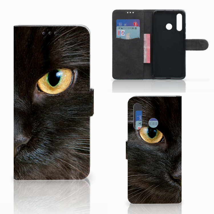 Huawei Nova 4 Telefoonhoesje met Pasjes Zwarte Kat