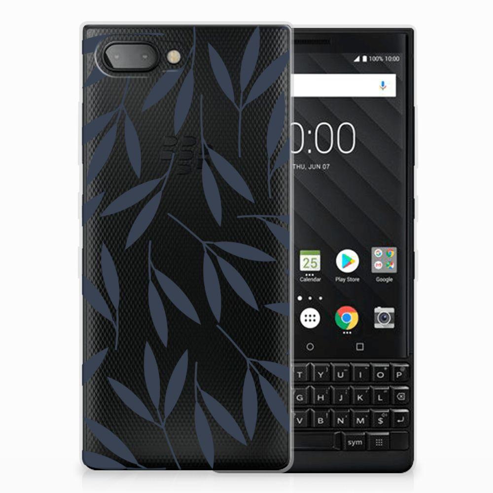 BlackBerry Key2 TPU Hoesje Design Leaves Blue