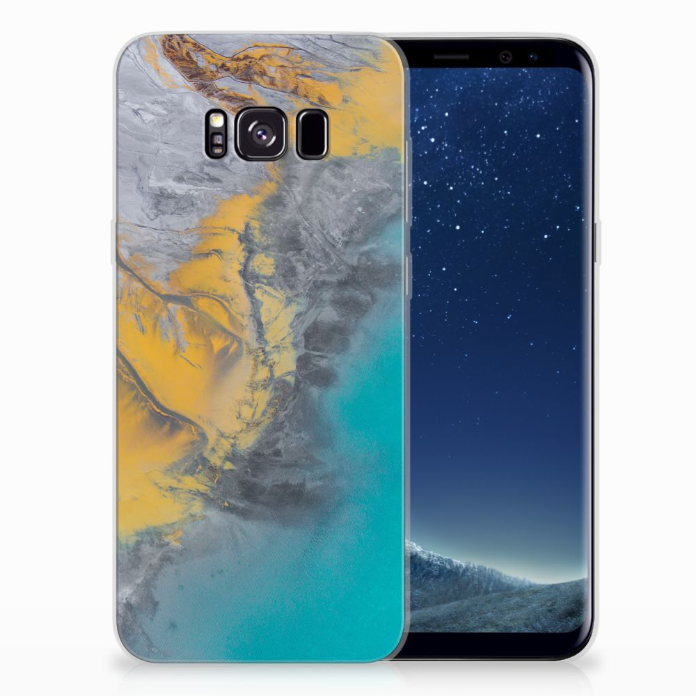 Samsung Galaxy S8 Plus TPU Siliconen Hoesje Marble Blue Gold
