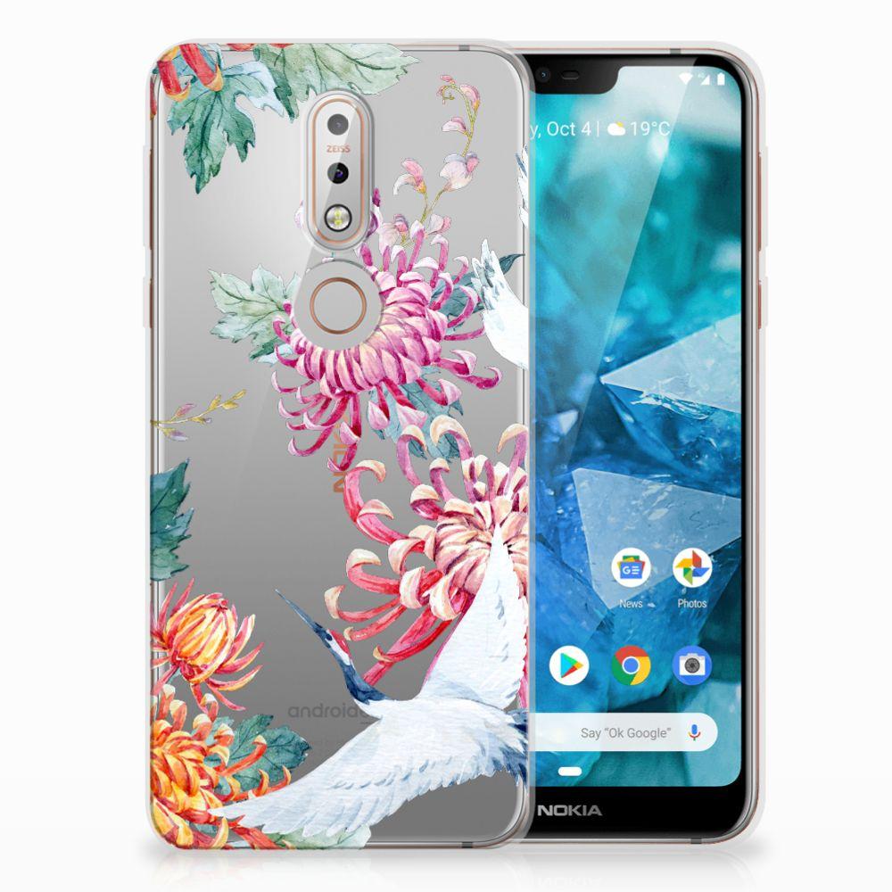 Nokia 7.1 Uniek TPU Hoesje Bird Flowers