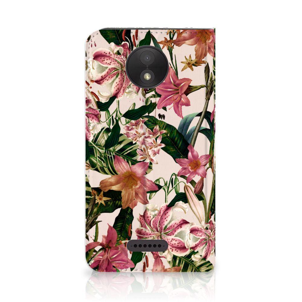 Motorola Moto C Plus Uniek Standcase Hoesje Flowers