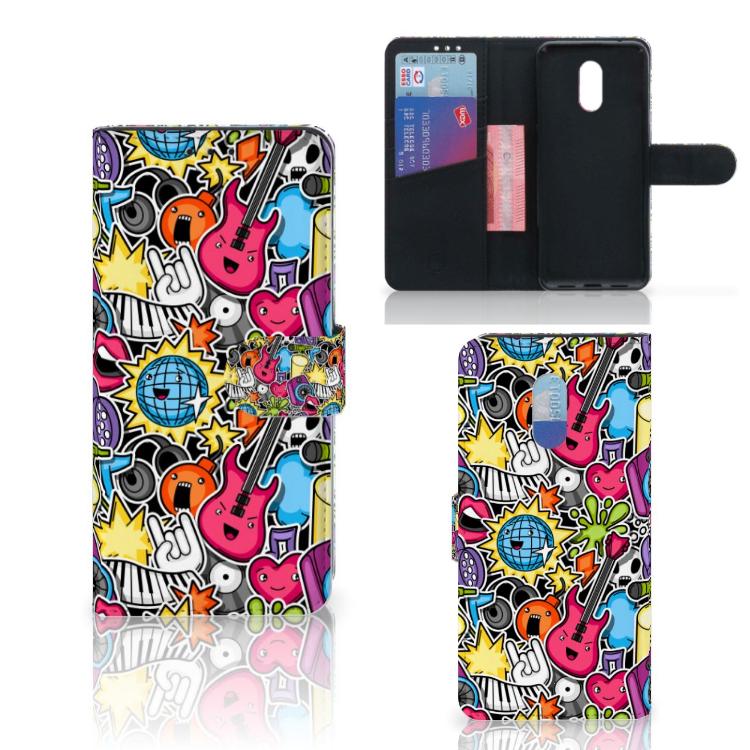 OnePlus 6T Wallet Case met Pasjes Punk Rock