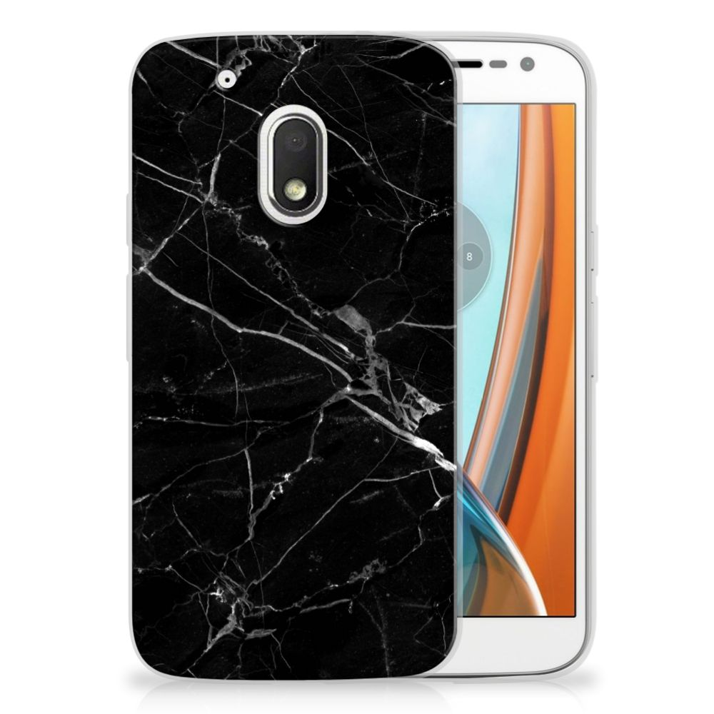 Motorola Moto G4 Play Uniek TPU Hoesje Marmer Zwart
