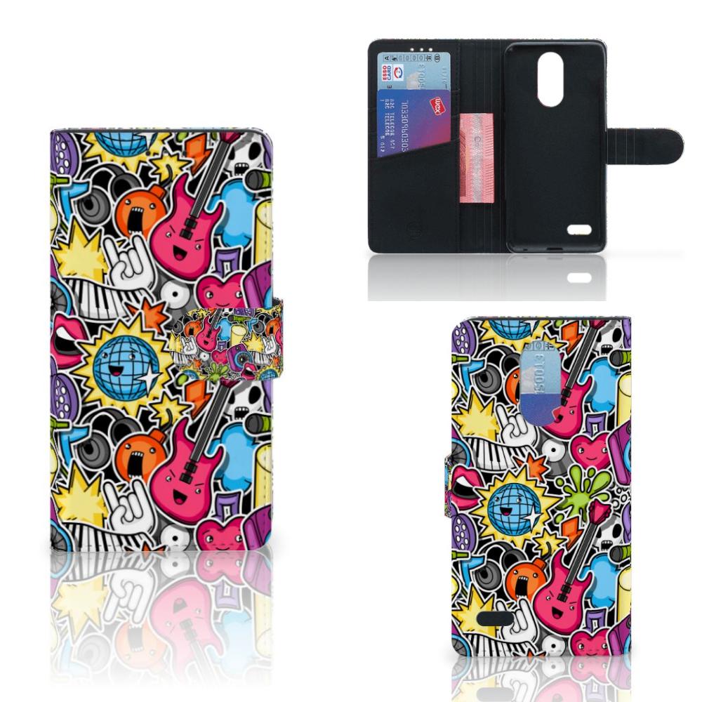 LG K10 (2017) Wallet Case met Pasjes Punk Rock