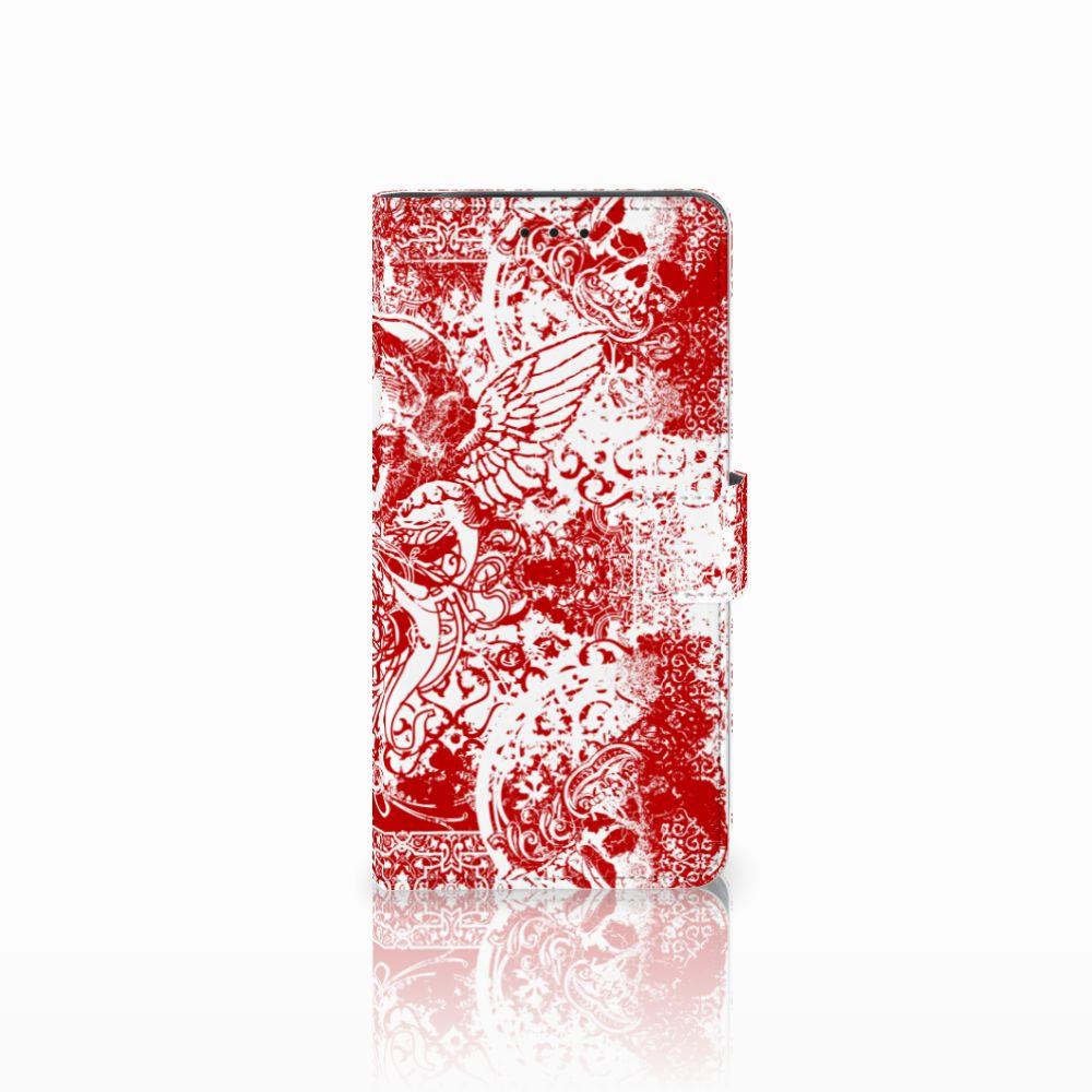 Telefoonhoesje met Naam Samsung Galaxy J6 Plus (2018) Angel Skull Rood