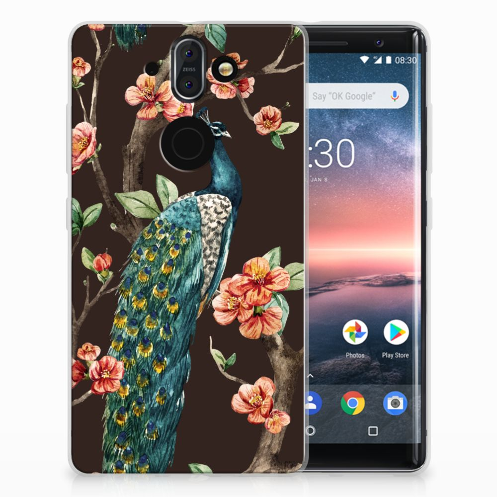 Nokia 9 | 8 Sirocco TPU Hoesje Design Pauw met Bloemen