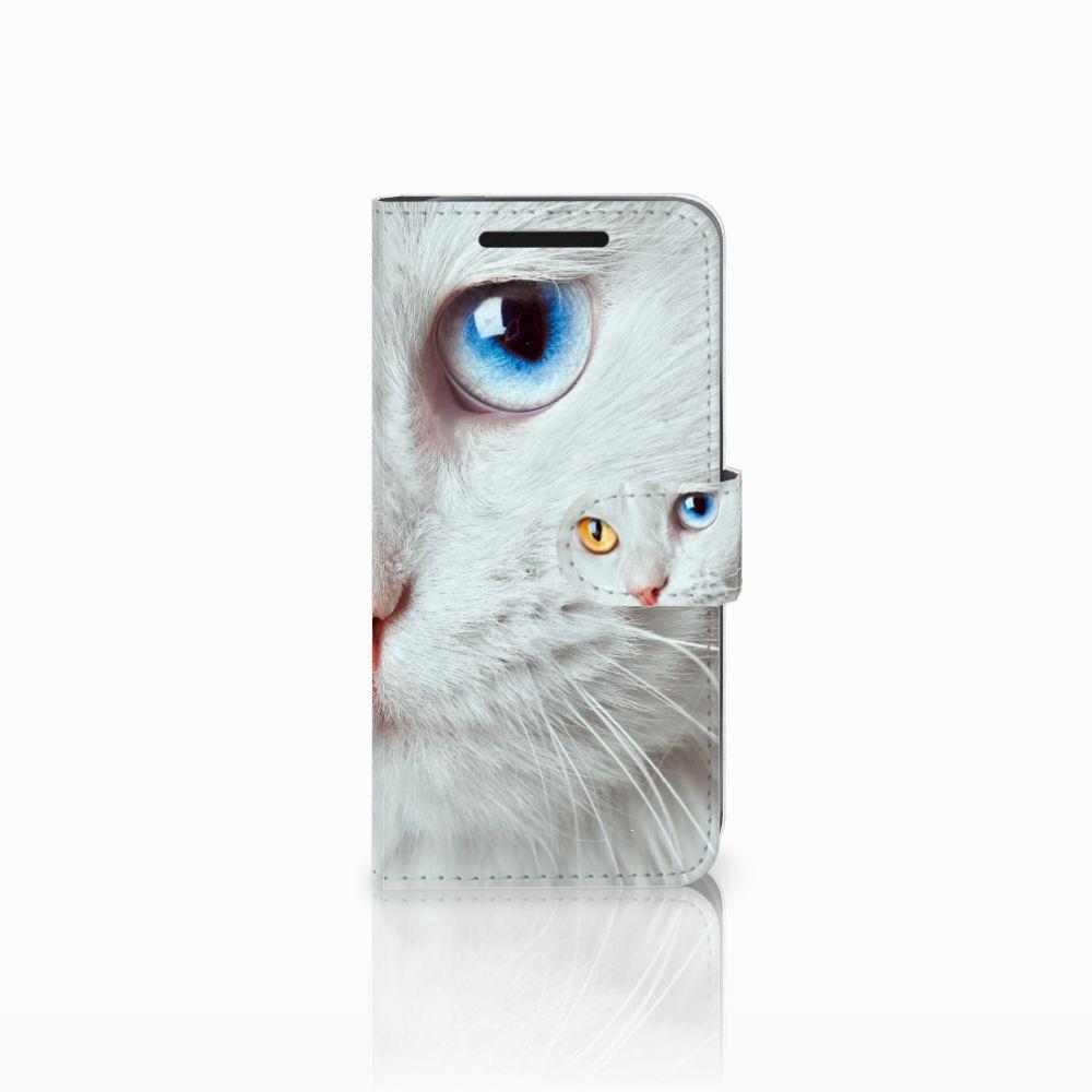 HTC One M9 Uniek Boekhoesje Witte Kat