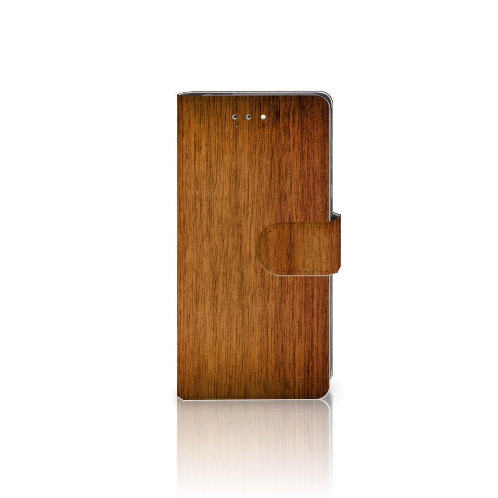 Huawei P9 Uniek Boekhoesje Donker Hout