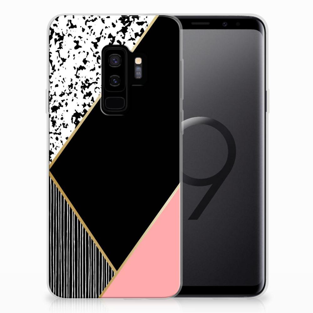Samsung Galaxy S9 Plus TPU Hoesje Zwart Roze Vormen