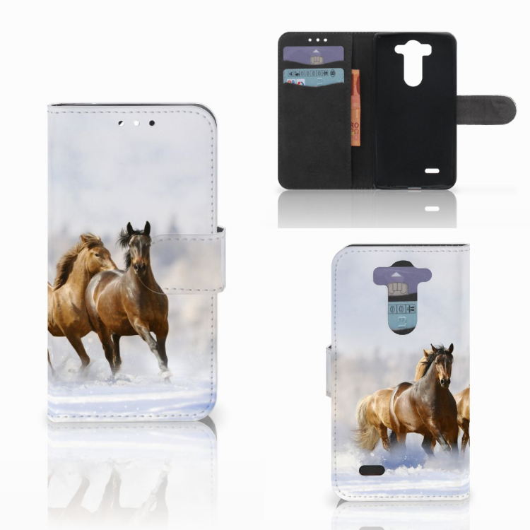 LG G3 S Telefoonhoesje met Pasjes Paarden