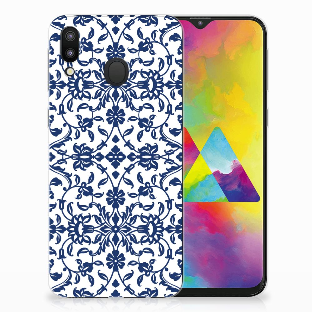 Samsung Galaxy M20 TPU Hoesje Flower Blue