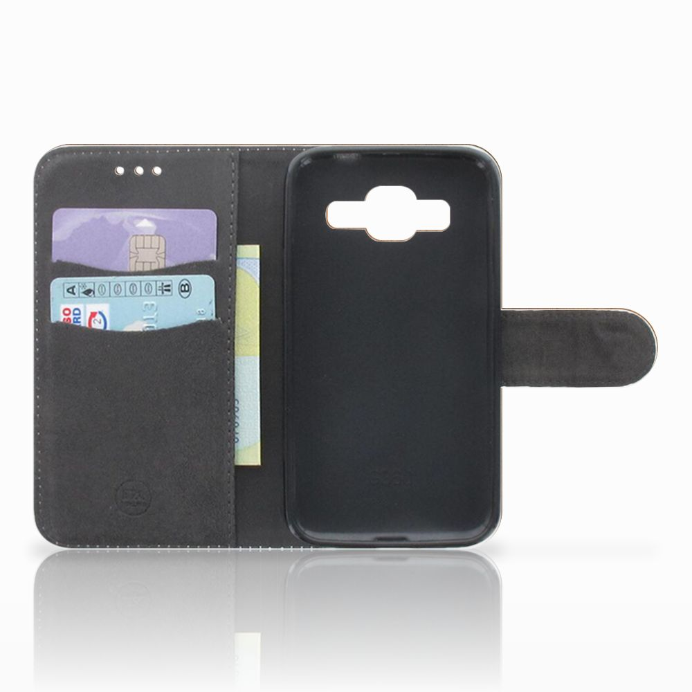 Samsung Galaxy Core Prime Book Style Case Donker Hout