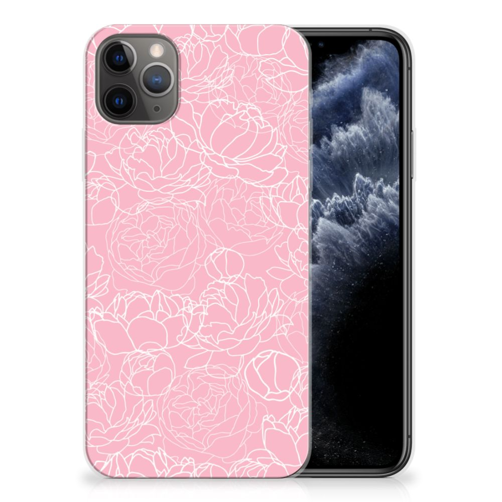 Apple iPhone 11 Pro Max Siliconen Hoesje White Flowers