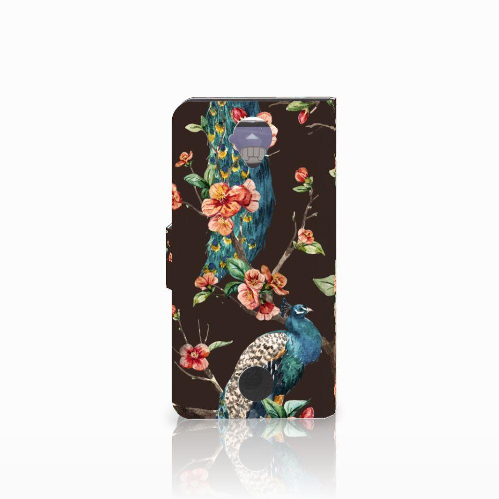 Acer Liquid Z330 Telefoonhoesje met Pasjes Pauw met Bloemen