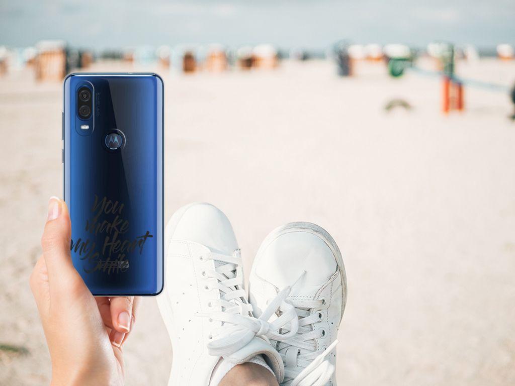 Motorola One Vision Siliconen hoesje met naam Heart Smile
