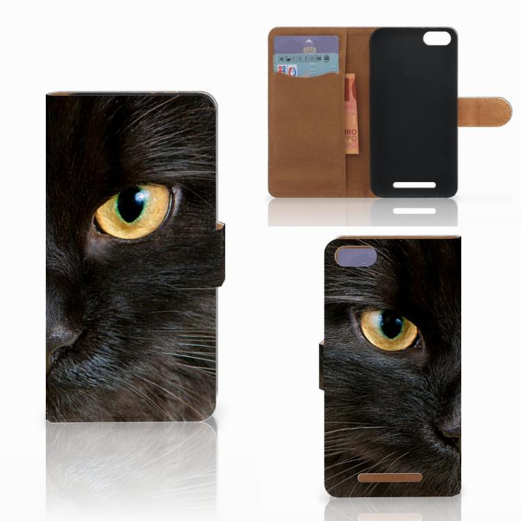 Wiko Lenny 3 Telefoonhoesje met Pasjes Zwarte Kat