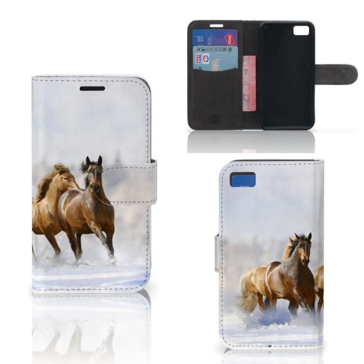 Blackberry Z10 Telefoonhoesje met Pasjes Paarden