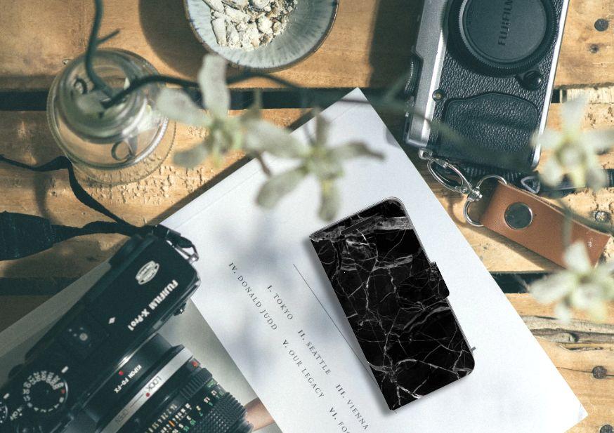 HTC One M9 Bookcase Marmer Zwart