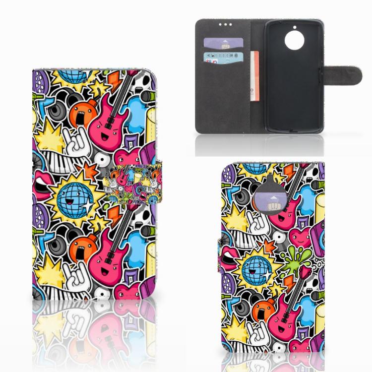 Motorola Moto E4 Plus Wallet Case met Pasjes Punk Rock
