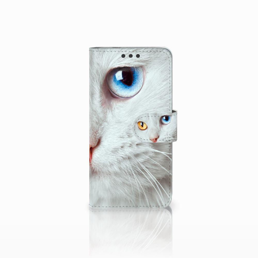 Microsoft Lumia 650 Telefoonhoesje met Pasjes Witte Kat