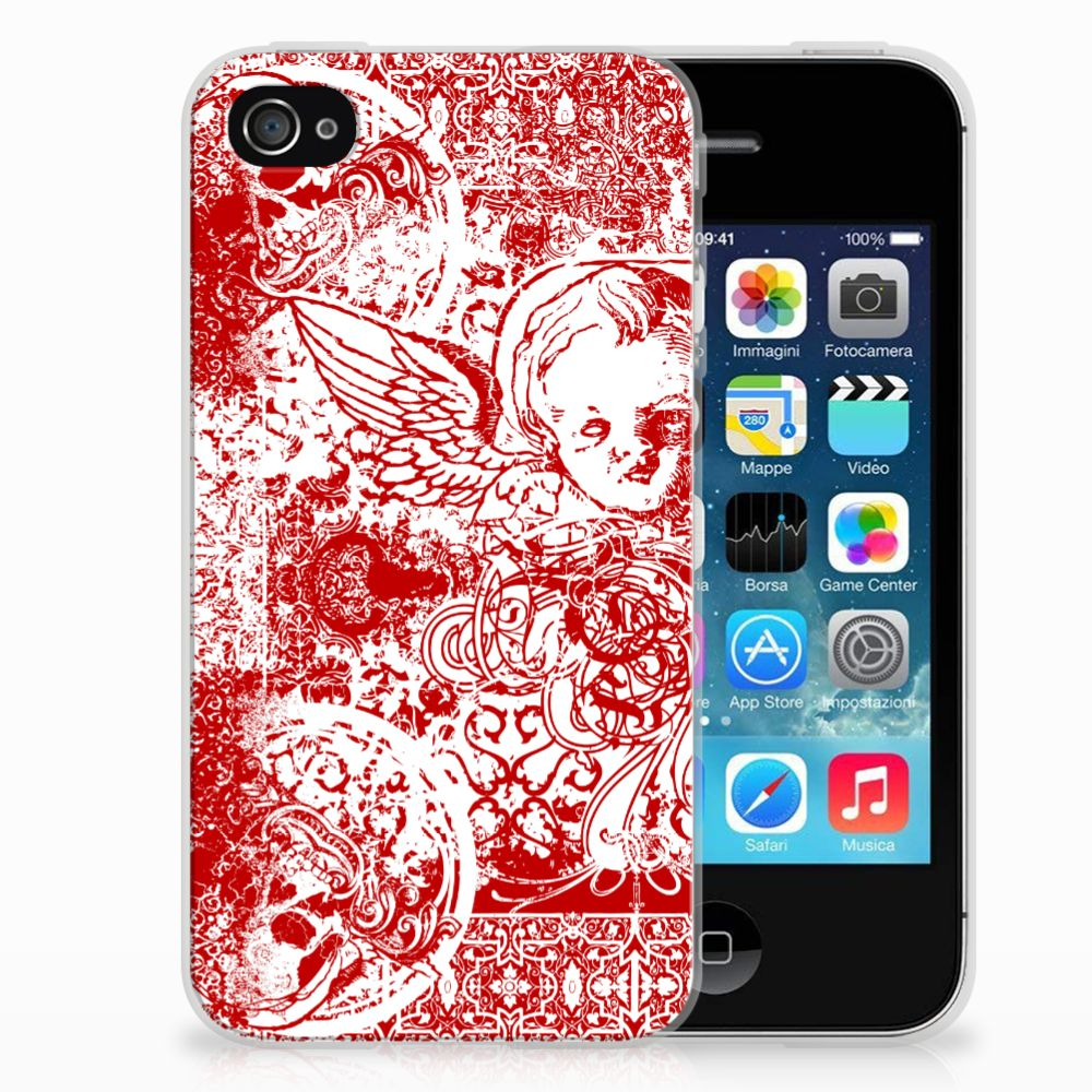 Silicone Back Case Apple iPhone 4 | 4s Angel Skull Rood