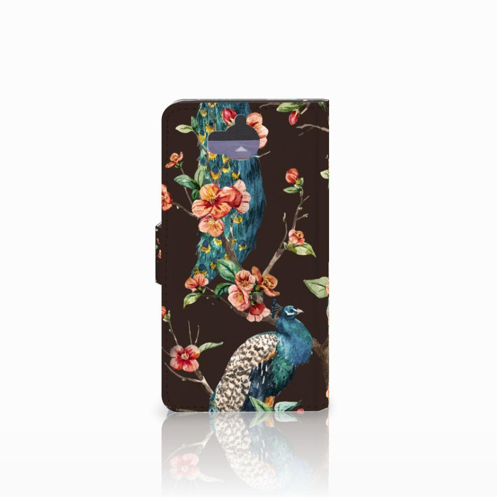 Huawei Y5 | Y6 2017 Telefoonhoesje met Pasjes Pauw met Bloemen