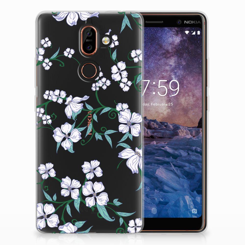 Nokia 7 Plus Uniek TPU Hoesje Blossom White