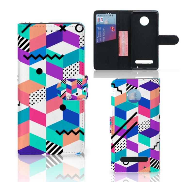 Motorola Moto Z2 Play Bookcase Blokken Kleurrijk
