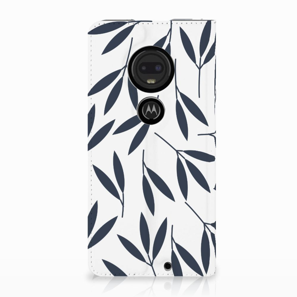 Motorola Moto G7 | G7 Plus Standcase Hoesje Design Leaves Blue